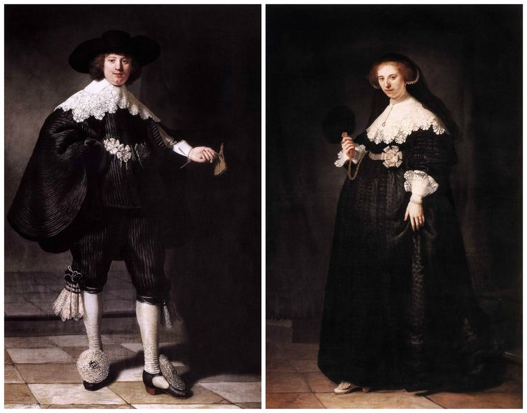 De huwelijksportretten van Maerten Soolmans en Oopjen Coppit, geschilderd in 1634 door Rembrandt. Beeld rv