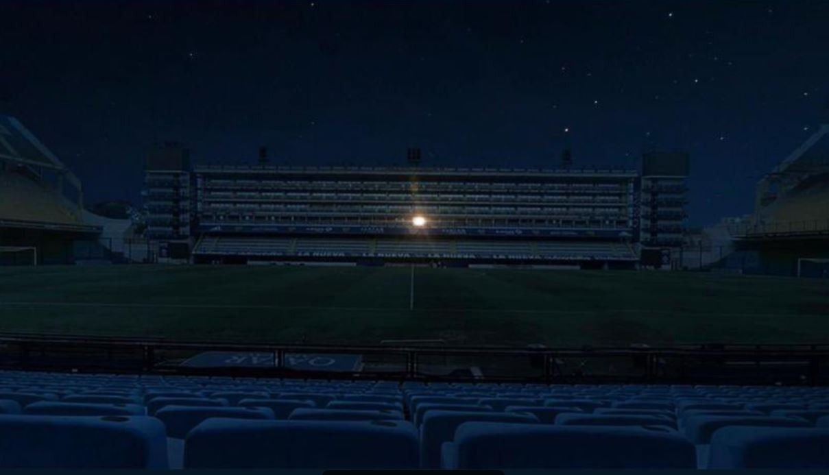 La Bombonera gisteravond: alleen in de loge van Diego Maradona brandde er licht.
