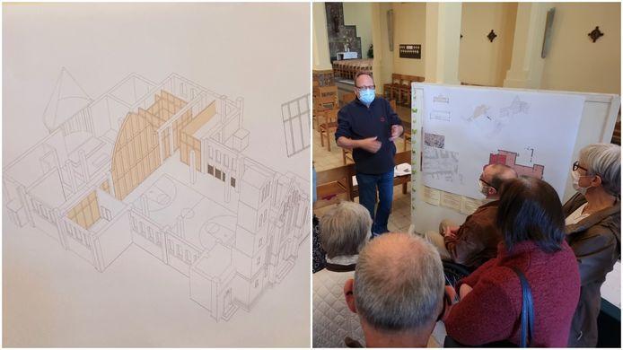 De plannen voor de turnzaal in de Sint-Stevenskerk in Sint-Pieters-Leeuw werden dinsdag voorgesteld.