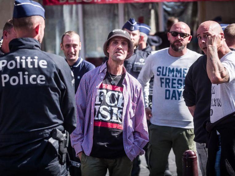 Betogers in Brussel. Beeld bas bogaerts