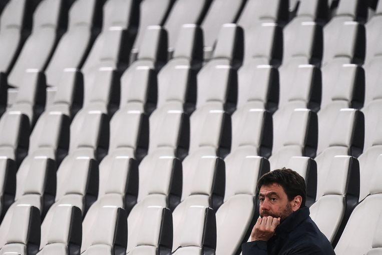 Andrea Agnelli van Juventus was een van de krachten achter de Super League, tot zijn fans zich tegen deze competitie zonder strijd keerden Beeld AFP