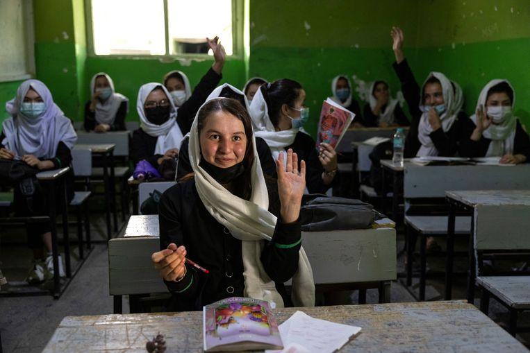 Het aantal schoolgaande kinderen steeg de afgelopen jaren in Afghanistan van 1 naar ruim 9 miljoen.  Beeld Getty Images