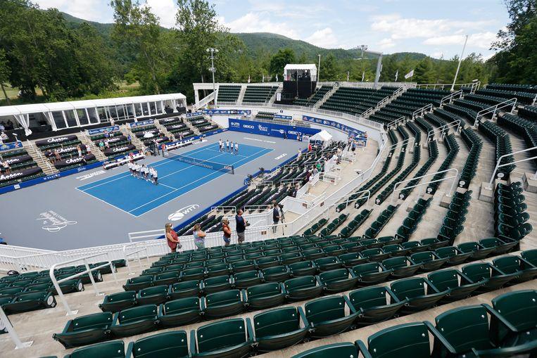 De tennisbaan in het Greenbrier Resort.
