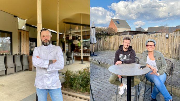 Chef Peter van Vlasselaer van Klein Zoersel in Oostmalle/Joël Springael (links) en Conny Vissers (rechts) van café ROCKS The Vintage Lounge in Zoersel