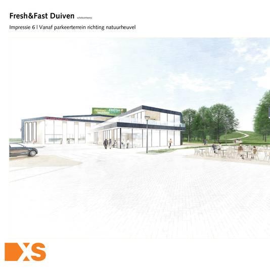Een artist impression van Fresh & Fast, een horecaconcept van Ten Brinke Slot Projectontwikkeling uit Varsseveld. Op de achtergrond is de Bult van Putman te zien.