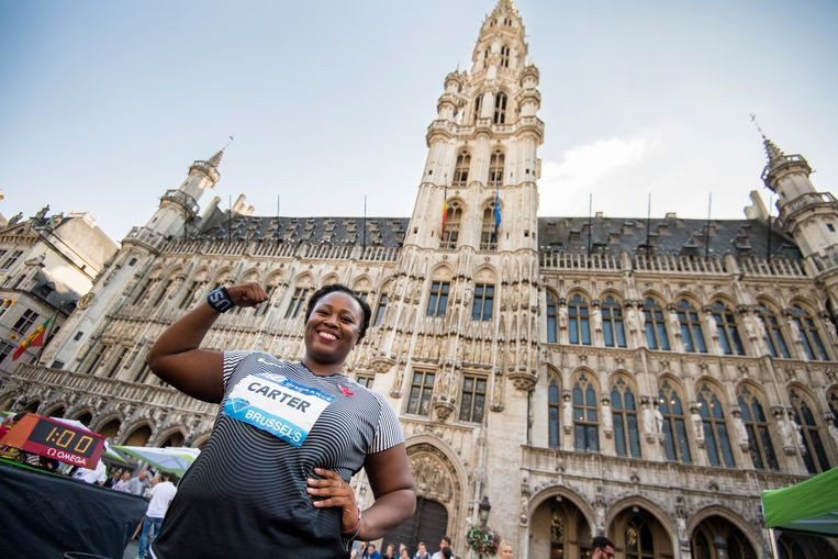 US Michelle Carter celebrates after winning the shot put event (men national and women Diamond league) of the 40th edition of the Memorial Van Damme athletics meeting, Thursday 08 September 2016 in Brussels. The Memorial Van Damme is the 14th and last meeting of the IAAF Diamond League. This event takes place one day ahead of the athletics meeting, on Brussels famous Grand-Place - Grote Markt. BELGA PHOTO LAURIE DIEFFEMBACQ Beeld BELGA