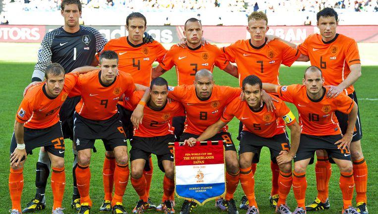 Teamfoto van het Nederlands elftal voorafgaand aan de WK-wedstrijd Nederland - Japan. Foto ANP Beeld