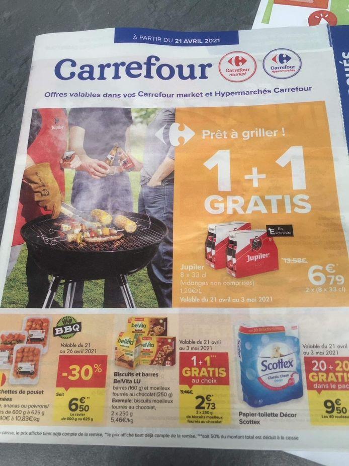 Vlaams Belang Denderleeuw dient klacht in tegen een Franstalige folder van Carrefour die in Denderleeuw werd verspreid.
