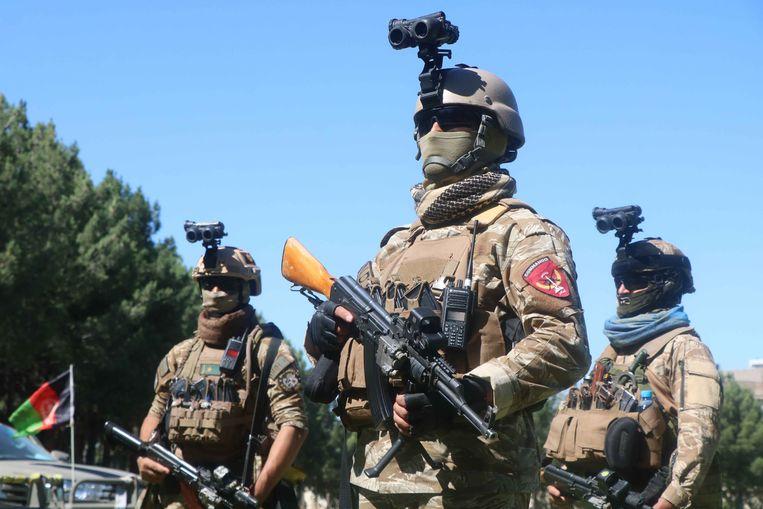 Afghaanse militairen kijken toe hoe Taliban-strijders hun wapens inleveren in een verzoeningsceremonie in de Afghaanse stad Herat, in het westen van Afghanistan.  Beeld EPA