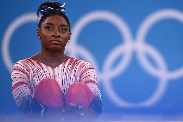 Simone Biles tijdens de Spelen in Tokio.