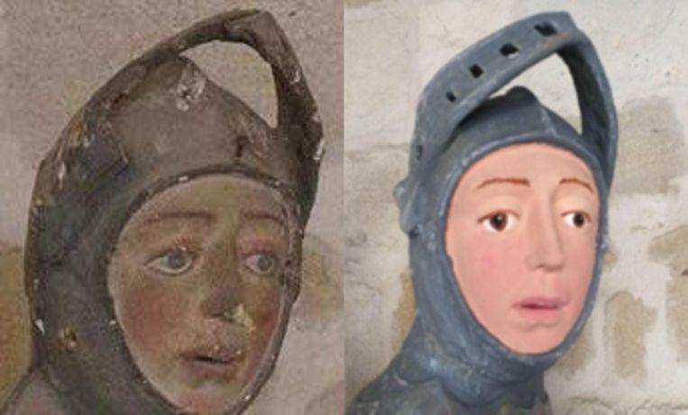 Het beeldje van Sint-Joris voor en na de restauratie. Beeld ArtUs Restauración Patrimonio