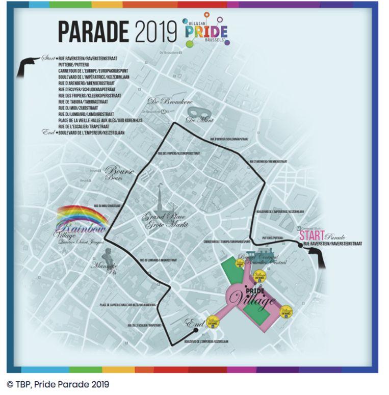 Parcours van de Pride Parade 2019 Beeld Belgian Pride