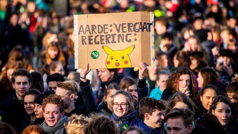 Jongeren spijbelen om actie te voeren tegen klimaatverandering Beeld ANP