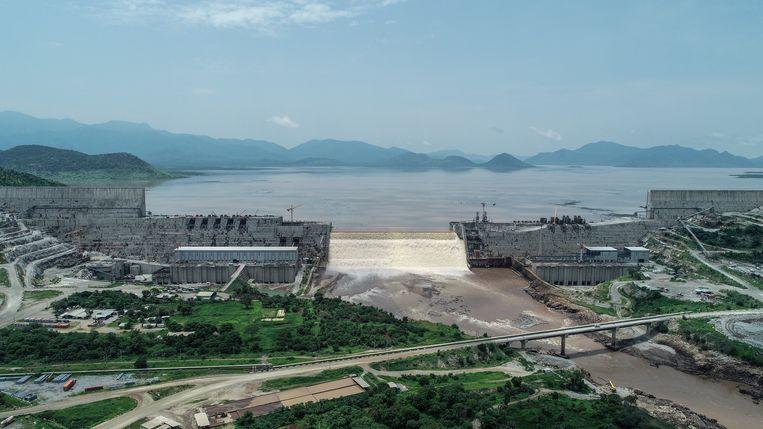 De Grand Ethiopian Renaissance Dam vanuit de lucht.  Beeld AFP
