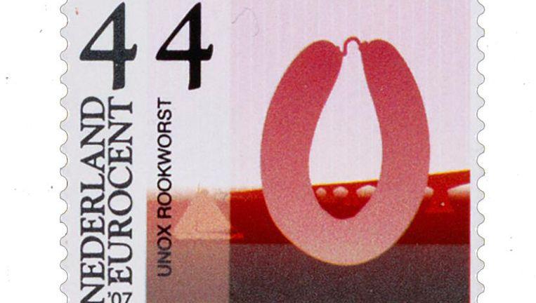 De Unox rookworst-zegel uit 2007. Beeld