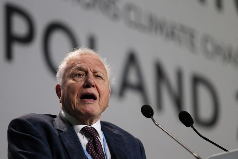 De Britse bioloog en tv-maker David Attenborough houdt een speech op de klimaattop in Polen.