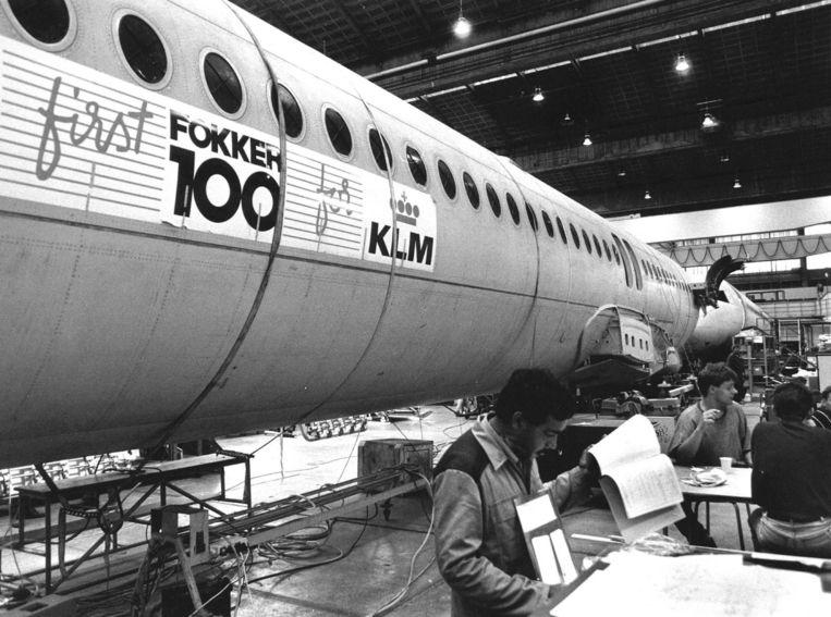 De bouw van de eerste Fokker 100 voor KLM. Beeld anp