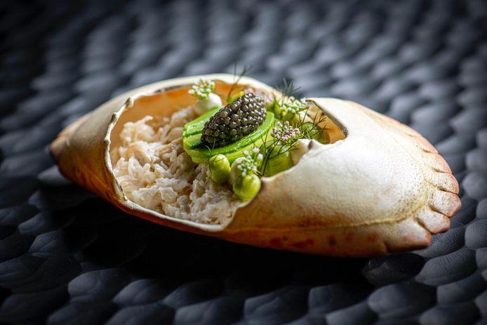 Een Casello-gerechtje met krab, avocado en kaviaar.
