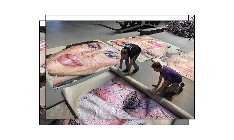 Vanwege de ontstane commotie verwijdert skatepark Pier15 het kunstwerk Destroy my Face.  Beeld Marcel van den Bergh / de Volkskrant