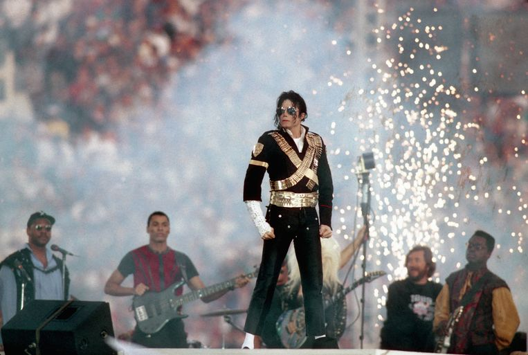 Michael Jackson tijdens de  Super Bowl van 1993 in Pasadena (Californië). Beeld WireImage