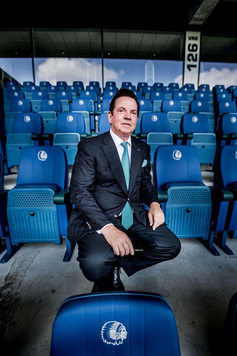 Gheysens in 'zijn' Ghelamco Arena (Gent). Critici verwijten hem weleens meer geïnteresseerd te zijn in de bouw van voetbalstadions dan gepassioneerd te zijn door het spelletje. Beeld ID/Emy Elleboog