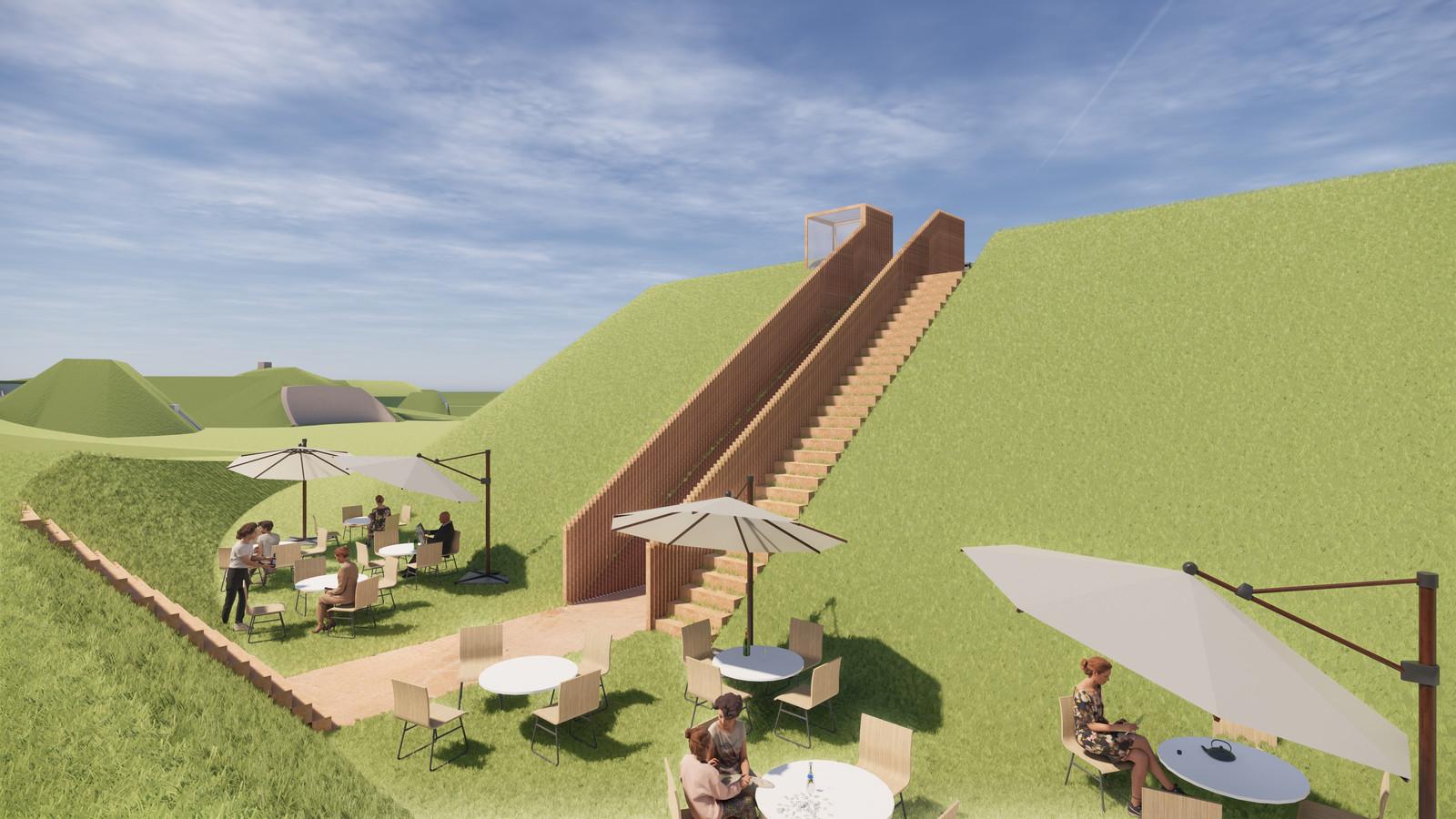 Sfeerimpressie plannen Fort Buitensluis: het toekomstige terras aan de achterzijde van het fort.