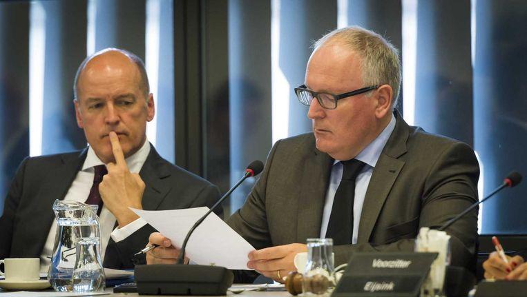 Topdiplomaat Wim Geerts en minister Timmermans van Buitenlandse Zaken. Beeld anp