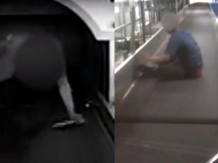 Jongen kruipt op bagageband en rijdt hele luchthaven door