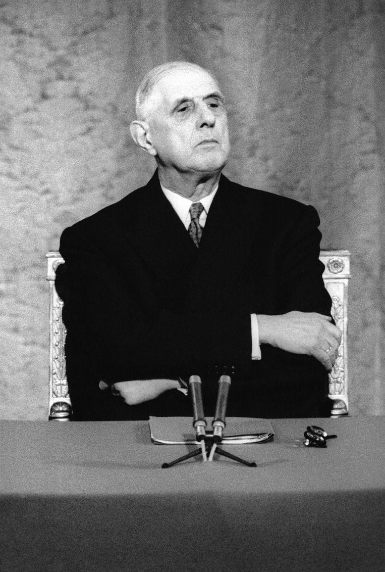 President Charles de Gaulle tijdens een persconferentie. Beeld Gamma-Rapho via Getty Images
