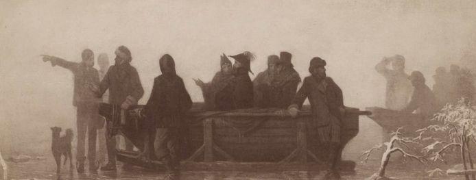 Koning Willem III, in een slee over het ijs op weg naar de Bommelwaard en naar Leeuwen, vraagt de weg aan enkele schaatsers