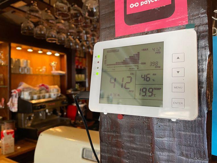 Als de CO2-meter rood uitslaat moeten alle ramen open, of de gasten naar buiten. Beeld Mark van Assen