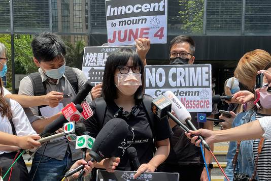 Activiste Chow Hang-tung, de vicevoorzitter van het Verbond voor Steun aan Patriotistische Democratische Bewegingen, werd vrijdag door de politie in Hongkong opgepakt.