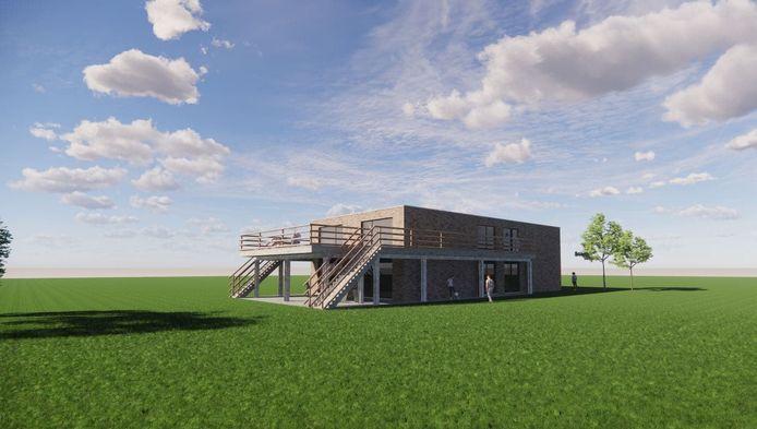 Een toekomstbeeld van de nieuwe jeugdlokalen van vzw JAO in Oetingen.