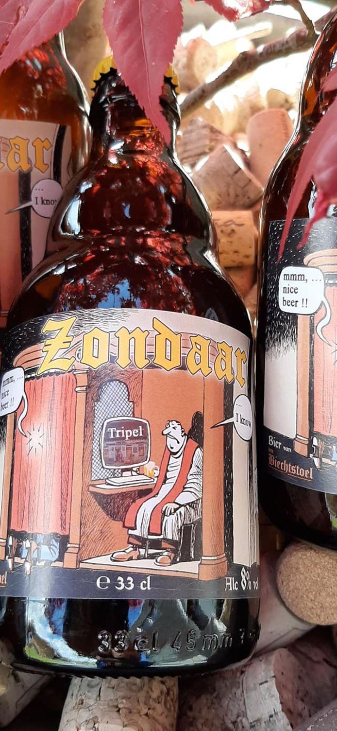 Het Zondaar-bier van café Den Biechtstoel in Meulebeke: een leuke cartoon op het etiket.