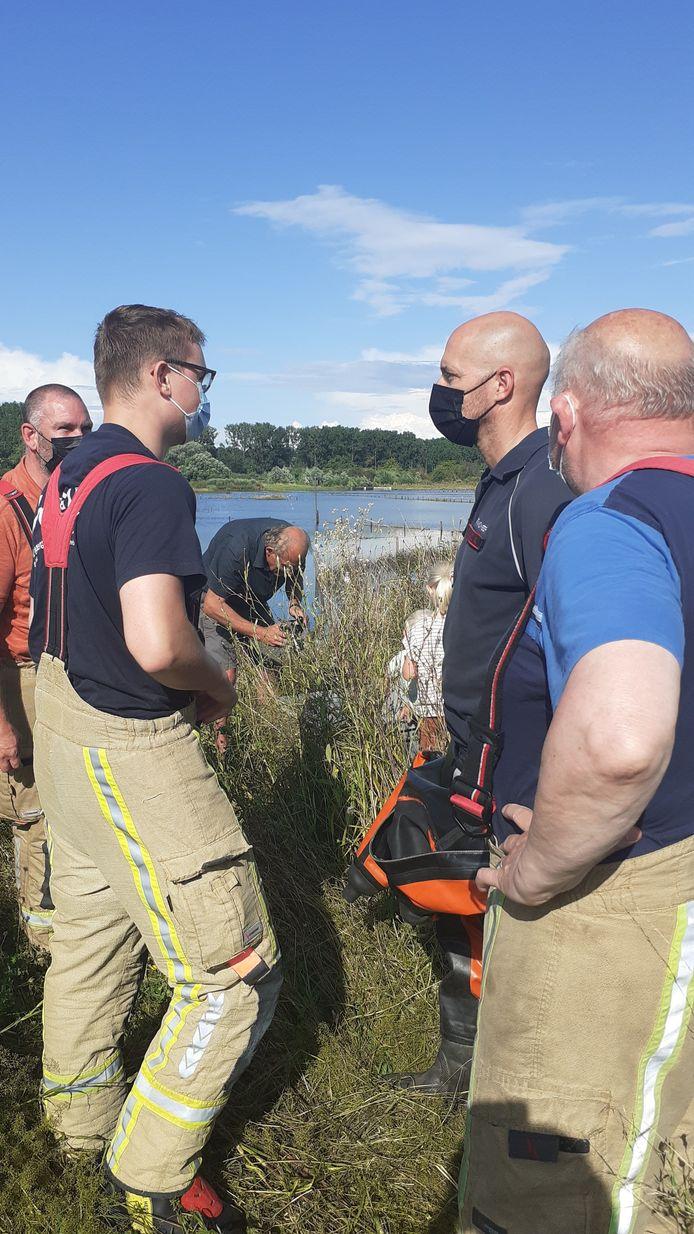 Jonge ooievaar belandt in het water en wordt overgebracht naar opvangcentrum.