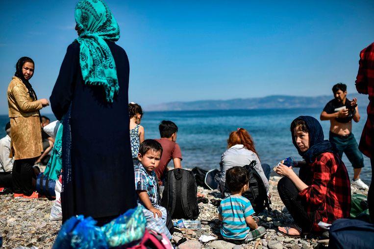 Migranten uit Afghanistan in het Griekse Lesbos na hun oversteek uit Turkije (Archiefbeeld).