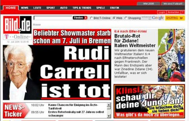 De Duitse krant Bild maakt op de site groot melding van het overlijden van Rudi Carrell. Beeld