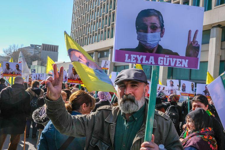 Betoging van Koerden in Brussel.