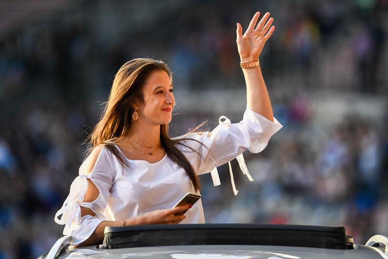 Ook turnster Nina Derwael werd gevierd voor haar gouden medaille.