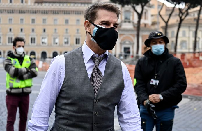 Tom Cruise in Rome tijdens de opnames van Mission Impossible 7
