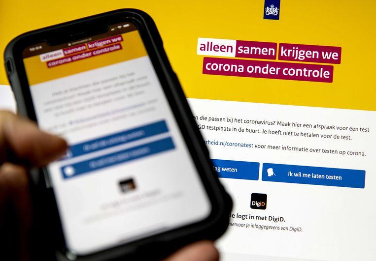Op de website coronatest.nl is een testafspraak te maken. De uitslag van die test is er later te bekijken.  Beeld ANP