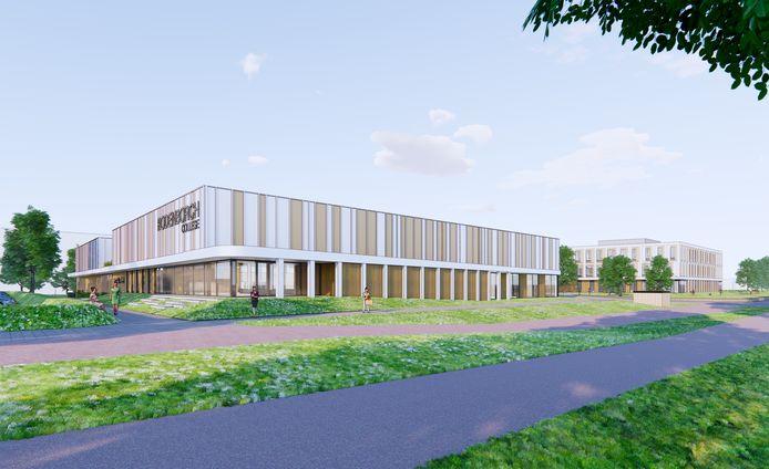 Sporthal (voorgrond) en school van het nieuwe Rodenborch College in Rosmalen.