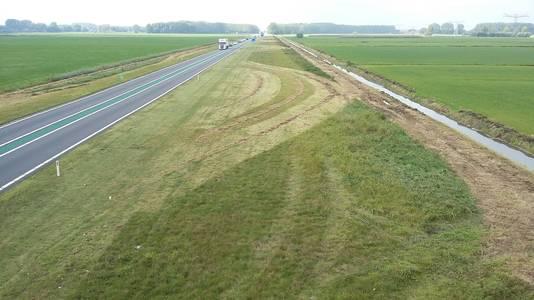Sinusmaaien in de berm van de Maas en Waalweg (N322), westwaarts gezien.