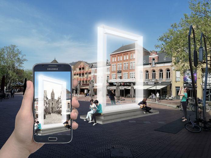 Een eerste ontwerp voor het portaal dat op de Markt in Eindhoven zou kunnen komen te staan. Dat geeft toegang tot veel digitale informatie over het cultuurhistorisch erfgoed van de stad, een projecten van erfgoedstichtingen, ontwerpers en de stichting Cultuur Eindhoven.