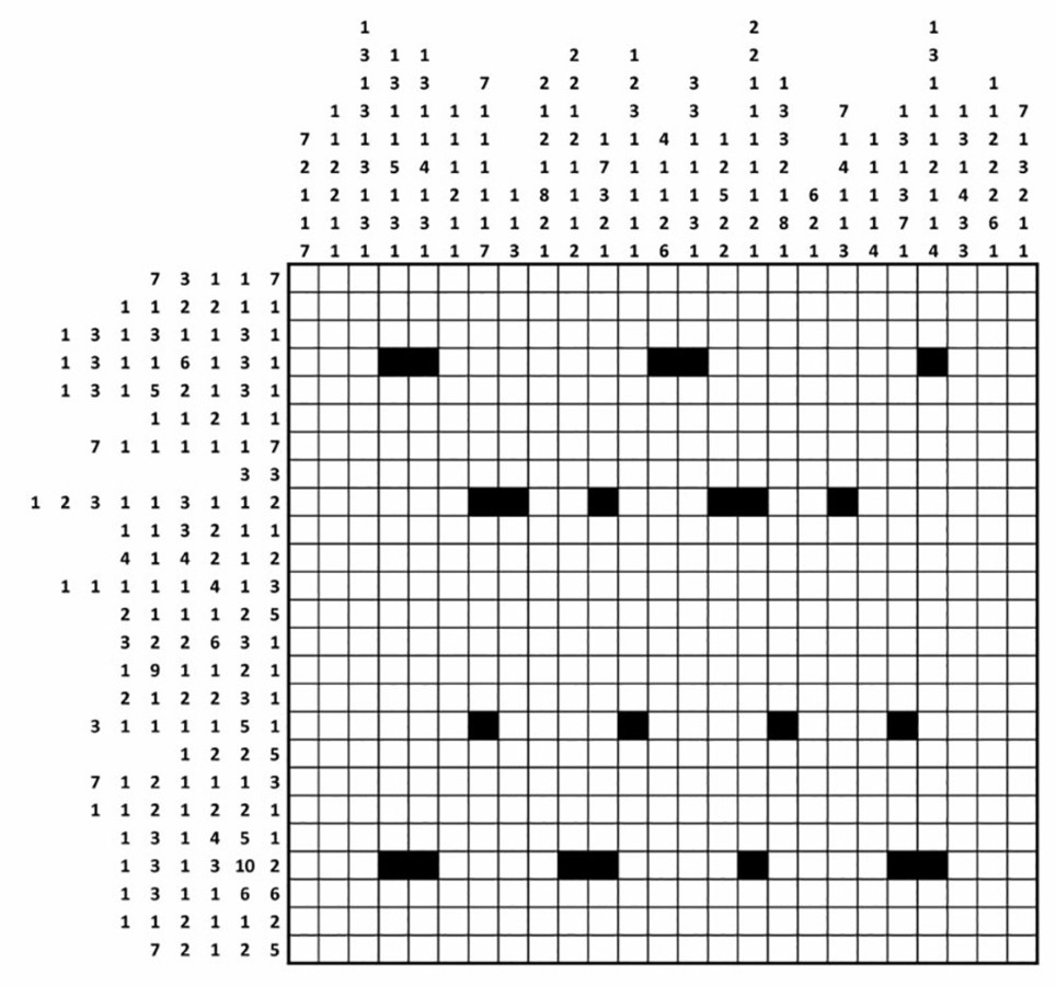 De oplossing van de eerste puzzel leverde een QR-code op.