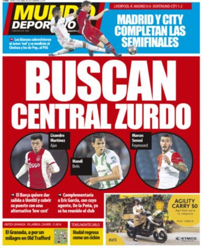 De cover van El Mundo Deportivo.