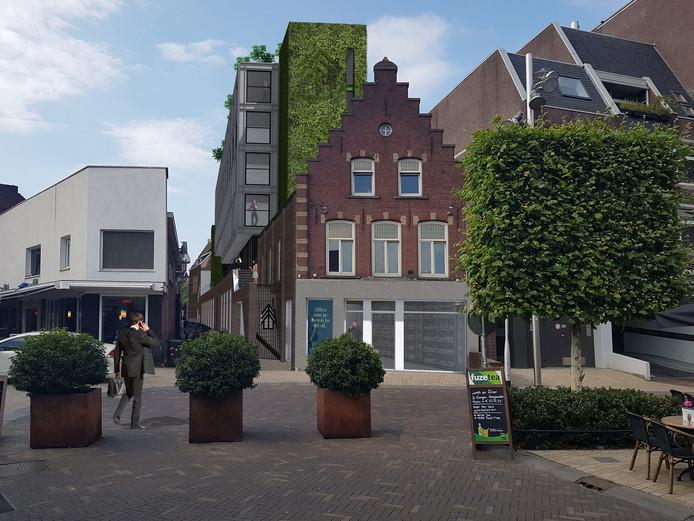 Woongebouw Tilia gezien vanaf het Piusplein. De trapgevel van de winkel/horecaruimte op de kop wordt zoveel mogelijk in oude staat gerestaureerd. In de groene gevel en bij de ingang van het woongebouw wordt het Tilia-logo afgebeeld.