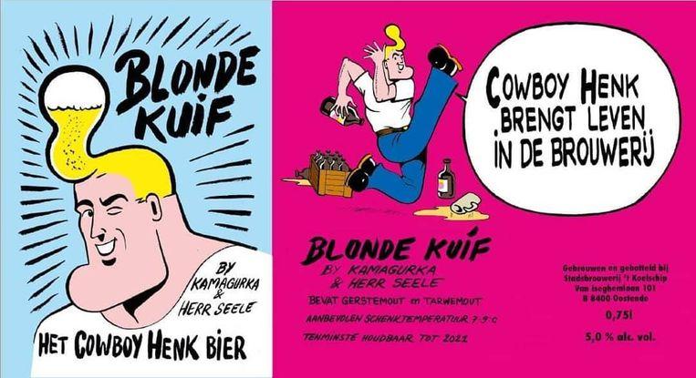 Het label van het enige echte Cowboy Henk-bier, 'Blonde kuif'