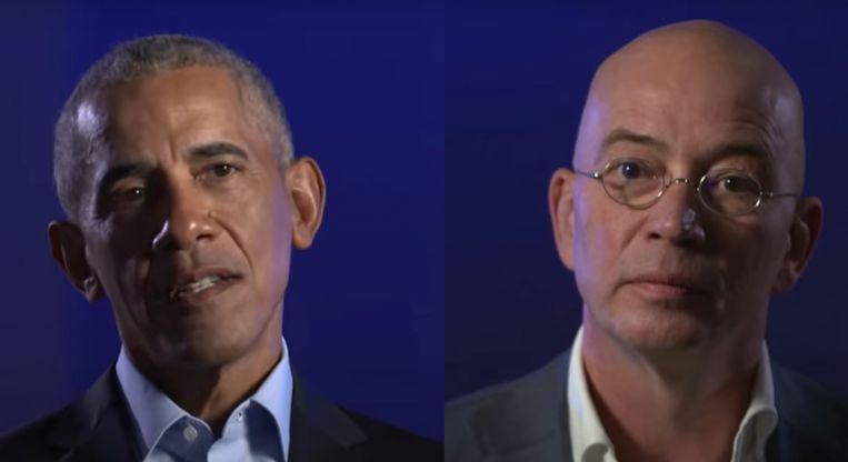 Barrack Obama en Tommy Wieringa. 'Barack Obama had zelf om schrijvers dan wel mensen uit het culturele veld gevraagd als interviewers. Waarom eigenlijk, vroeg ik me af, want zelf bleef hij politieke antwoorden geven.' Beeld Nieuwsuur