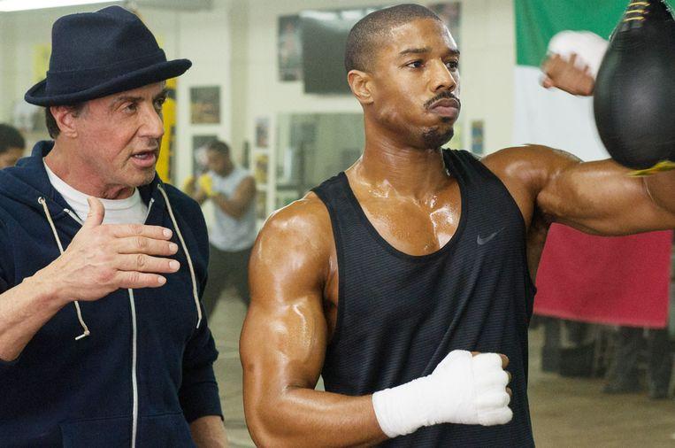 Sylvester Stallone en Michael B. Jordan in Creed van Ryan Coogler Beeld